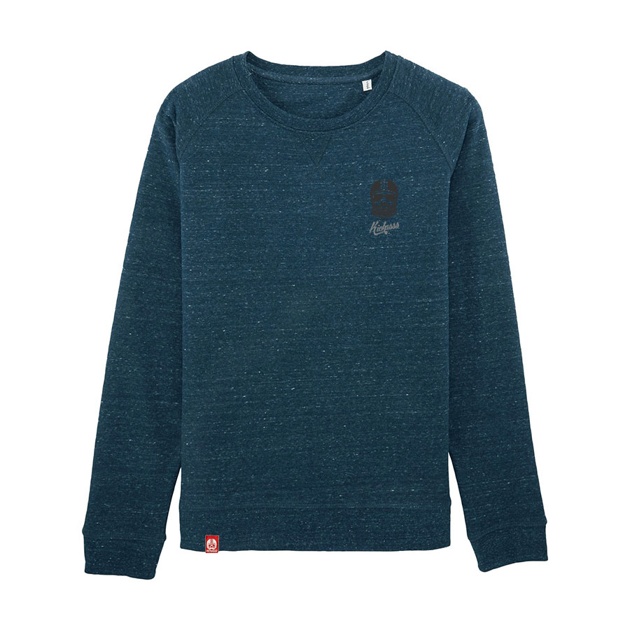 Sweat raglan pour femme Kickasss Driver Broderie (dark heather denim)