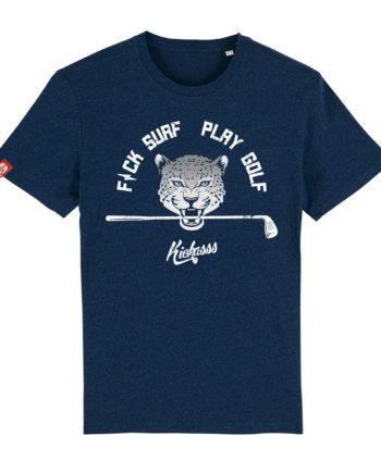 T-shirt Kickasss Fuck Surf Play Golf (black heather blue)