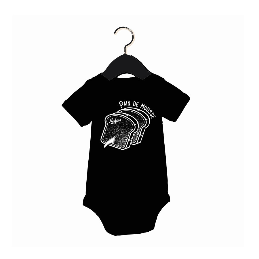 Body manches courtes bébé Kickasss Pain de Mousse (noir)