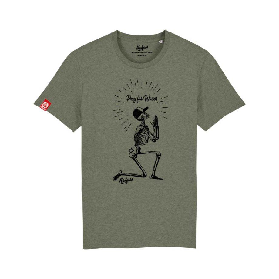 T-shirt surf Kickasss Pray for Waves (heather kaki)
