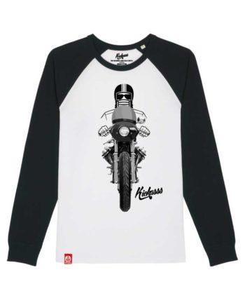 T-shirt manches longues numéroté Kickasss moto Driver 20 (white/black)