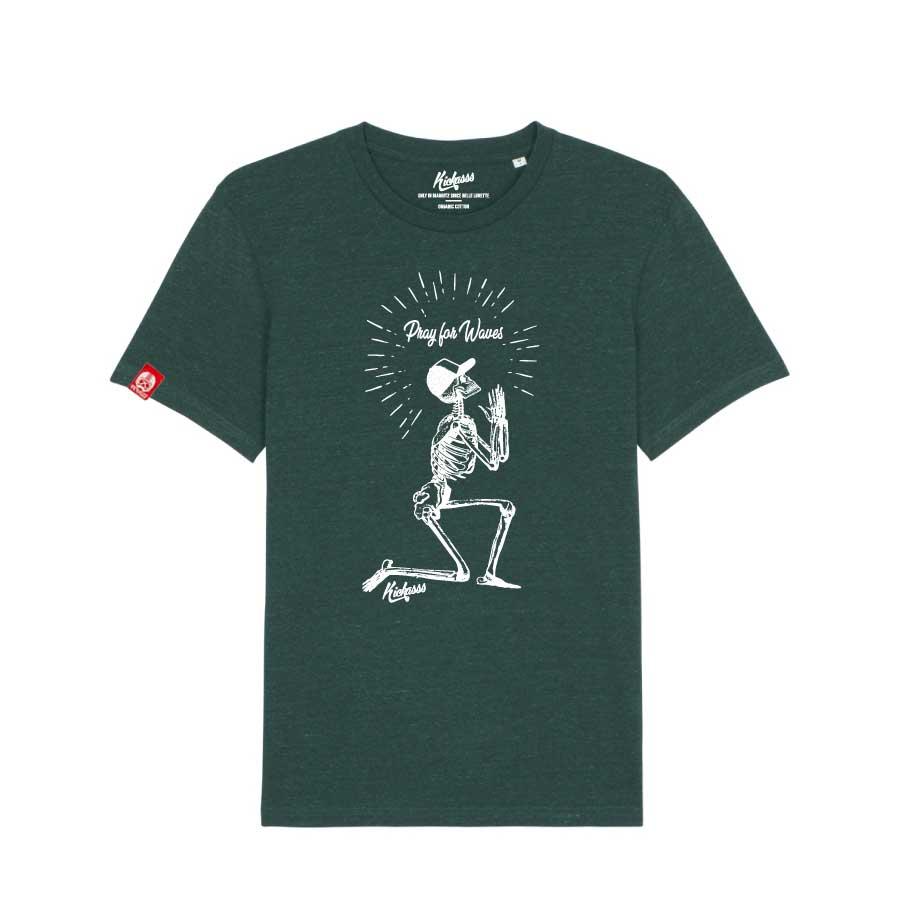 T-shirt surf Kickasss Pray for Waves (heather snow glazed green)