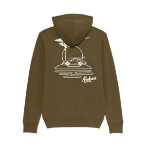 Sweat-shirt à capuche zippé pour homme Kickasss All I Need (kaki)