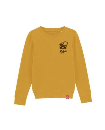 "Sweat shirt enfant brodé Kickasss ""Gaston le Racoon"" (ocre)"