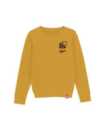 "Sweat shirt enfant brodé Kickasss ""Gaston le Racoon"" (ocre)"