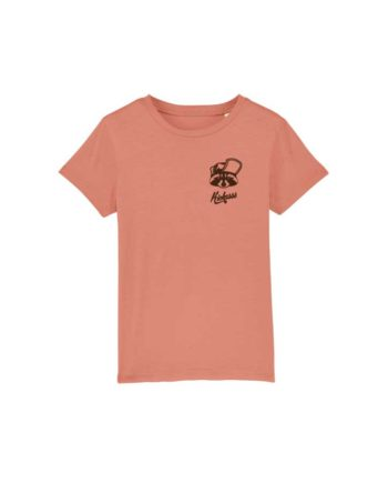 "T-shirt enfant brodé Kickasss ""Gaston le Racoon"" (rose clay)"