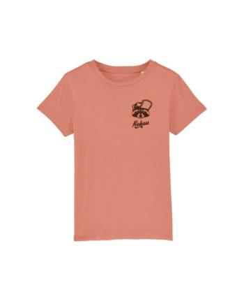 "T-shirt enfant brodé Kickasss ""Gaston le Racoon"" (rose clay)"
