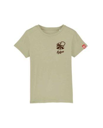 "T-shirt enfant brodé Kickasss ""Gaston le Racoon"" (sage)"