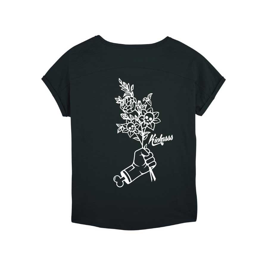 T-shirt en coton bio numéroté Kickasss Flowers pour femme (black)