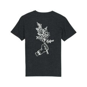 t-shirt kickasss flowers heather black denim