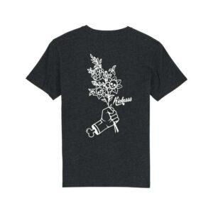 t-shirt kickasss flowers heather black denim