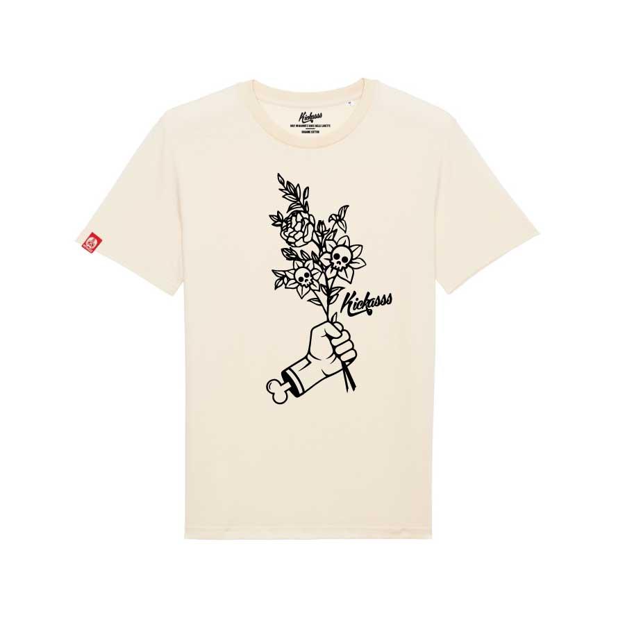 T-shirt numéroté en coton bio Kickasss Flowers (natural raw)